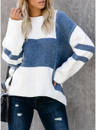 Bloque de Color Punto Grueso Cuello de Soporte Suéteres