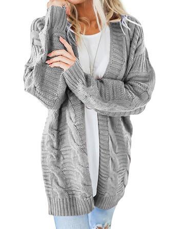 Jednobarevné Copánkový vzor Hrubá pletenina Neformální Dlouhé Kardigan