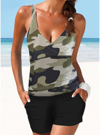 Strap V-Neck Plus Size Casual Tankinis Swimsuits