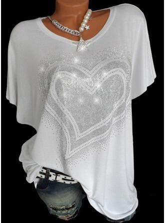 Hjärta Paljetter Rund-ringning Korta ärmar T-tröjor