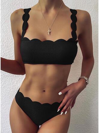Color Sólido Empujar Corte de onda Correa Sexy Antiguo Bikinis Trajes de baño