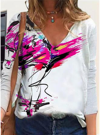 Impresión Cuello en V Manga Larga Camisetas