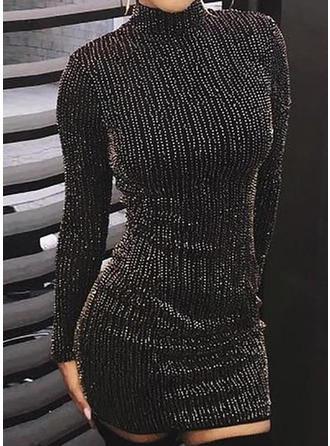 Sólido Manga Larga Ajustado Sobre la Rodilla Pequeños Negros/Casual/Elegante Vestidos