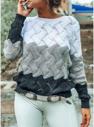 Bloque de Color Cuello Redondo Suéteres