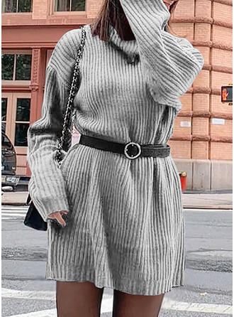 Sólido Manga Larga Casual Vestidos