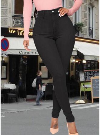 Solid Pockets Skinny Denim Denim & Jeans