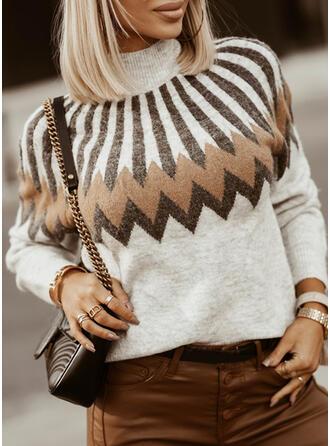 Impresión Cuello Alto Casual Suéteres