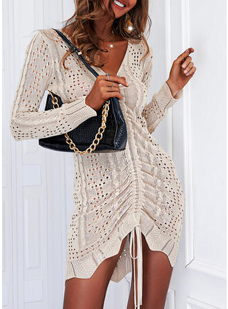 固体 長袖 シフトドレス 膝上 エレガント セーター ドレス