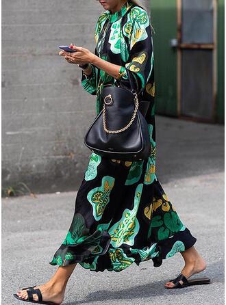 Print/Floral Long Sleeves Shift Casual/Elegant Maxi Dresses