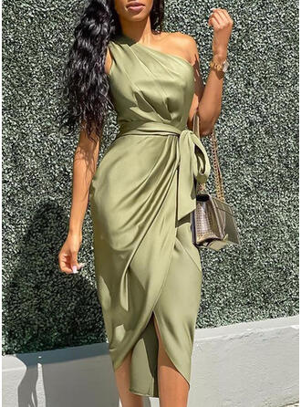 Solid Sleeveless Bodycon Party Midi Dresses