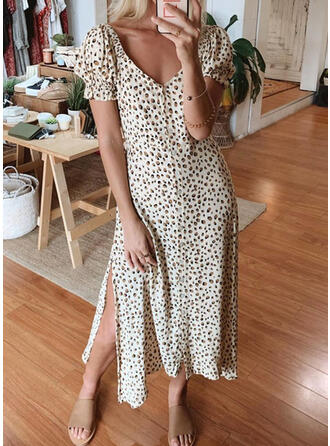Leopard Short Sleeves/Puff Sleeves A-line Skater Casual Midi Dresses