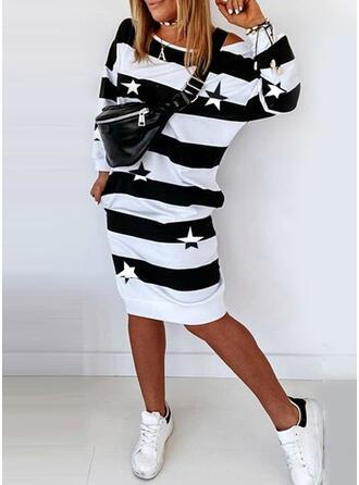 Print/Striped Long Sleeves Sheath Knee Length Casual Sweatshirt Dresses