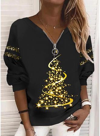 Christmas Print V-Neck Long Sleeves Christmas Sweatshirt