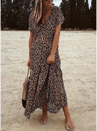 Leopardo Manga Corta Tendencia Casual/Elegante Maxi Vestidos