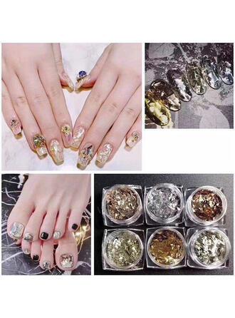 6 PCS Nail Art Autocollant Décoration d'art d'ongle de feuille d'or