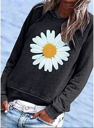 Impresión Floral Cuello redondo Manga Larga Casual Camisetas