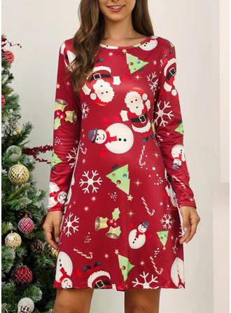 Print Long Sleeves Shift Knee Length Christmas/Party Dresses