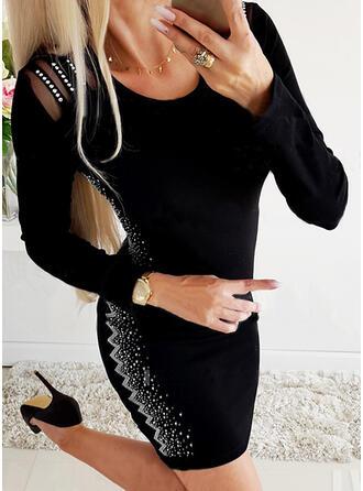 Flitterek Hosszú ujjú Testre simuló ruhák Térd feletti Kis fekete/Elegáns φορέματα