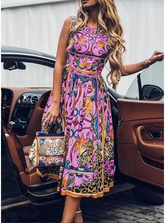 Impresión Sin mangas Acampanado Casual/Elegante Midi Vestidos