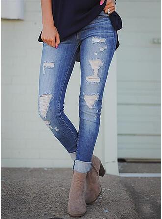 Solid Jean Lang Casual Plus størrelse Lomme rippet Denim & Jeans