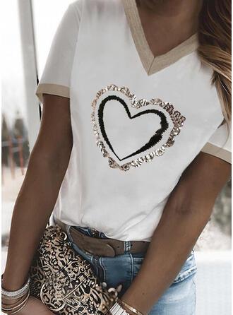 Hjärta Print V-ringning Korta ärmar T-tröjor