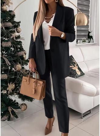 Sólido Elegante Tallas Grande blusa & Conjuntos de dos piezas establecer