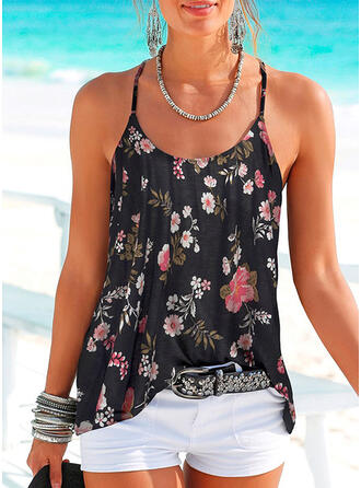 Backless Floral Print Spaghetti Straps Sleeveless Tank Tops