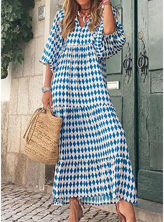 印刷 3/4袖 パフスリーブ シフトドレス カジュアル マキシ ドレス