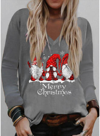 Navidad Impresión Carta Santa claus Cuello en V Manga Larga Camisetas
