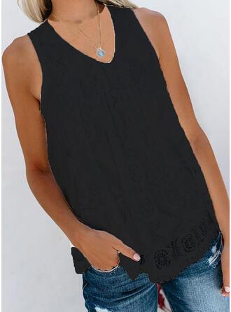 Encaje Cuello en V Sin mangas Casual Camisetas sin mangas