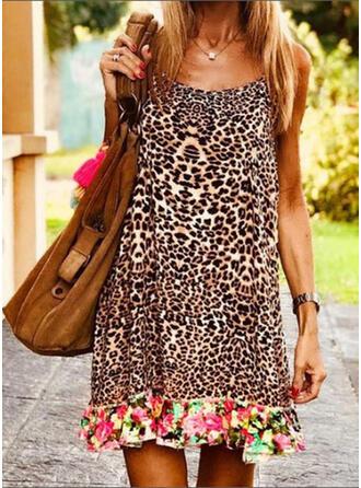 Floral/Leopardo Sin mangas Tendencia Sobre la Rodilla Casual/Vacaciones Vestidos