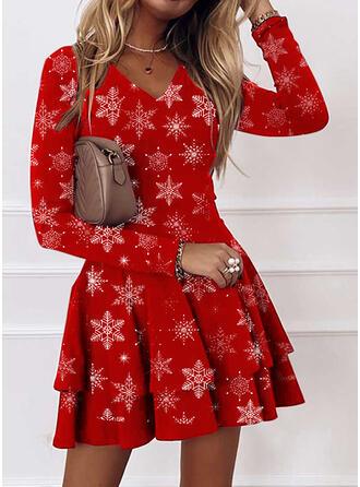 クリスマス 印刷 長袖 Aラインワンピース 膝上 カジュアル スケーター ドレス