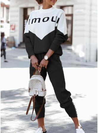 Letter Print Color Block Casual Plus Size Sweatshirts & Two-Piece Outfits Set