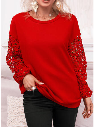 Christmas Solid Lace Round Neck Long Sleeves Sweatshirt