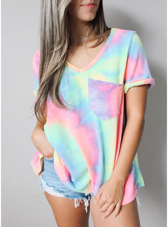 Tie Dye V-Neck Short Sleeves T-shirts