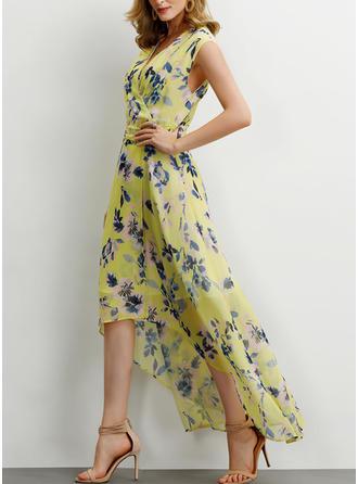 Impresión/Floral Sin mangas Acampanado Asimétrico Casual/Elegante Vestidos