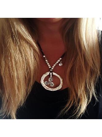 Clásico Elegante Romántico Aleación cuero con Decoración circular De mujer Señoras' Unisex Collares