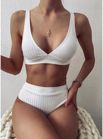 Enfärgad Rand Rem V-ringning Sexig bikini Badkläder