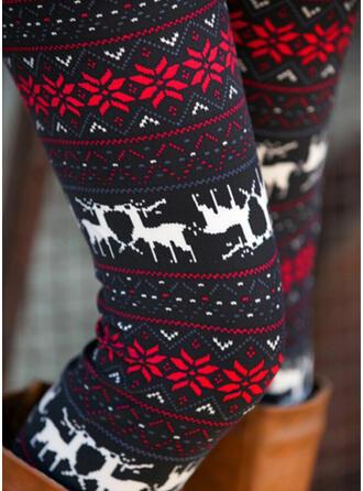 Geometric Print Christmas Casual Vintage Leggings