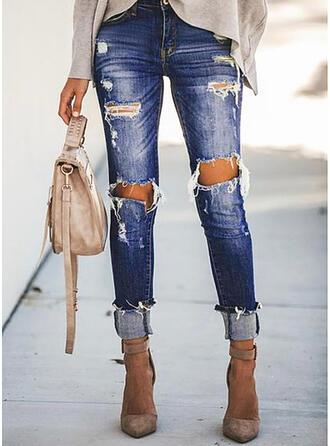 Solid Jean Lang Casual Ferie Plus størrelse Lomme rippet Denim & Jeans