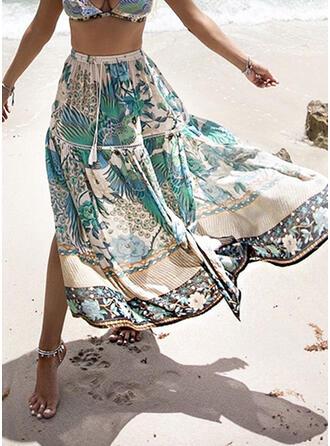 Polyester Tisk Do půl lýtek Sukně do tvaru A