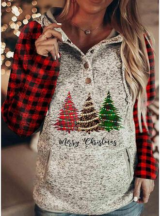 クリスマス 印刷 ヒョウ グリッド 文字 長袖 クリスマス・スウェットシャツ