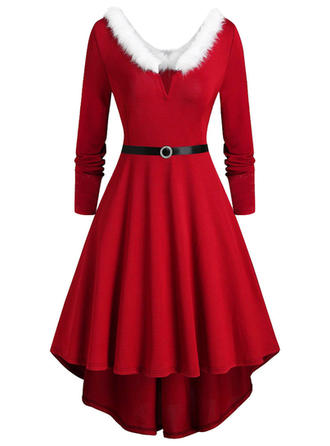 Solid Long Sleeves A-line Knee Length Christmas/Party Dresses