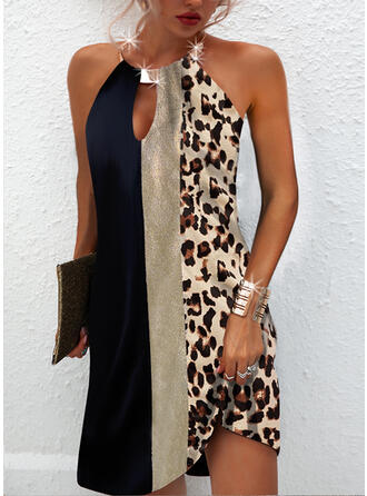 印刷/カラーブロック/ヒョウ/バックレス ノースリーブ シフトドレス 膝上 カジュアル ドレス