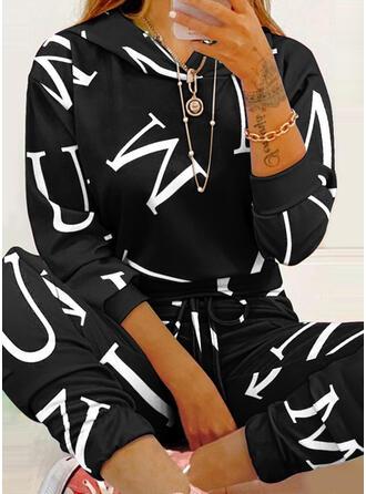 文字 印刷 スポーティー カジュアル プラスサイズ スウェット & ツーピースの服 Set ()