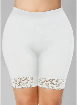 Sólido Encaje Por encima de la rodilla Casual Tallas Grande Jacquard Pantalones Pantalones cortos Polainas