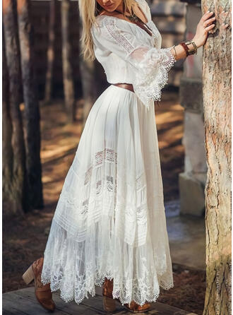 Lace/Solid 3/4 Sleeves/Flare Sleeves A-line Casual/Elegant/Vacation Maxi Dresses