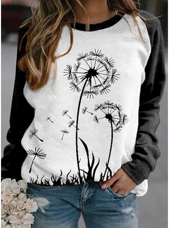 Print Color Block Dandelion Round Neck Long Sleeves Sweatshirt