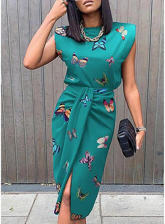 Print Sleeveless Bodycon Knee Length Casual/Elegant Dresses