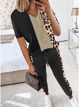 Leopard Color Block Neformální Plus velikost tee & Dvoudílné outfity Set ()